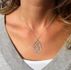 leaf necklace with matching leaf earrings silver